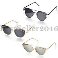 Damen Herren Gläser Metall flache Linse Retro gespiegelt übergroßen Sonnenbrille