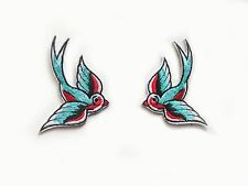 2x Swallow birds Rockabilly Patch blue cyan & red Iron On EmbroideredApplique Pa