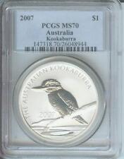 2007 $1 AUSTRALIA KOOKABURRA 1 Oz. SILVER BULLION COIN PCGS MS70
