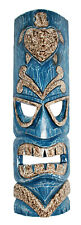 TIKI Mask Wooden Wall Plaque 50cm Hand Carved Painted SURFER/ MAORI STYLE BLUE