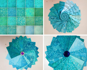 Batik 100% Cotton Quilting Jelly Roll Charms Layer Cakes FQ Packs Aqua Marine