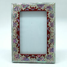 Red lacquered picture frame inlaid with Mother of pearl and glass