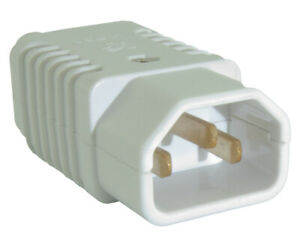 IEC C13/C14 'Kettle' Lead Male Socket Connector Plug Re-wireable 250v - WHITE