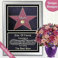 MOTHER'S DAY HOLLYWOOOD STAR THE PERFECT GIFT FOR MUM MUMMY MAM I LOVE YOU!