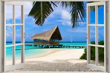 Cheap 3D Window view Exotic Ocean Beach Wall Sticker Film Art Decal Wallpaper S6