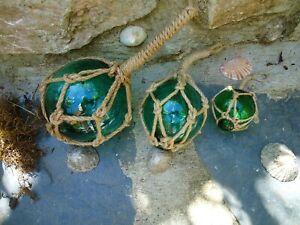 Jade Green Glass Fishing Boat Net Floats - Buoys Set Of 3 Blown Balls Bathroom A