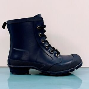 Ralph Lauren Mikenna Women's 7 (5.5Y) Navy Green Lace Up Lined Rubber Rain Boots