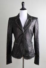 EMPORIO ARMANI Giorgio $1395 Genuine Leather Chain Trim Jacket Top Size 4