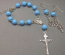 Pocket Rosary Bracelet Earring Set Auto 1 Decade Silver Accent LIGHT BLUE Beads