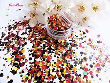 Nail Art Chunky *TanGo* Red Black Gold Dot Circle Shape Glitter Spangle Mix Pot