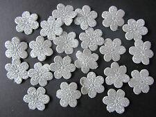 20 X Plata Brillante Tela Flor Adornos para cardmaking & Scrapbooking