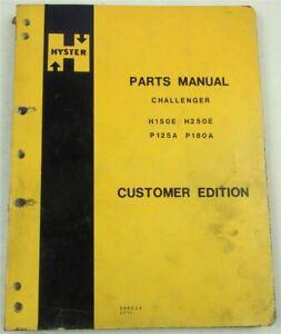 Hyster Challenger H150E H250E P125A P180A Parts List 2/75 Ersatzteilliste in eng