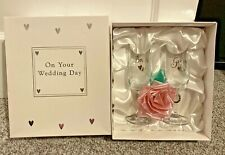 Bride And Groom Wedding Champagne Flute Lucky Horseshoe Glasses Gift In Box