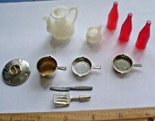 Doll House Vintage Plastic Pots Pans Bottles Spatula Knife 11 Piece