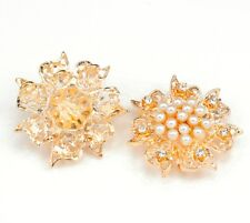 5x 3-strand Rhinestone Diamante Pearl Flower Gold Plated Connectors Joiners