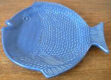 """Portuguese Fish Platter 10 x 10.5"""" Dutch Blue Art Pottery Raised Detailed Design"""