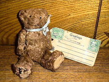 Antique Miniature Jointed Souvenir Teddy Bear w/ Tag From Yellowstone Park - 5""