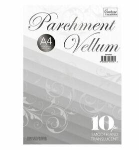 """Couture Creations 10pc Parchment Vellum Paper 8.5X11"""" Translucent Card A4 110gsm"""