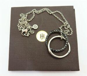 "John Hardy Sterling Black Sapphire Interlocking Circles Necklace 18""~Retail $650"