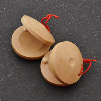 1 Pair Wooden Castanets Percussion Flamenco Musical Instrument Rhythm Kids Toy
