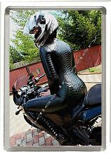 Motor Bike Girl Fridge Magnet Jumbo Size 90mm X 60mm