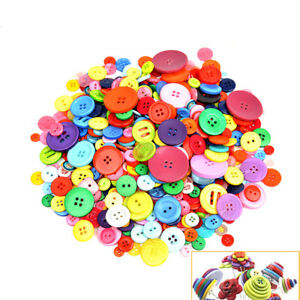 600Pcs Bulk Mixed Colour Resin Round Buttons 2/4 Holes Craft Sewing Christmas AU
