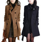 Women Trench Woolen Coat Winter Slim Double Breasted Overcoat Long Outerwear