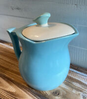 Vintage Mid Century McCoy Pottery Blue Pitcher with White Lid