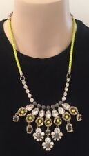 J CREW - Neon Yellow Rose Crystal Statement Necklace NWOT *New without Tags*