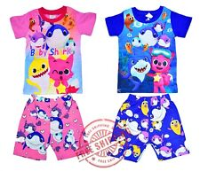 NEW SZ 1-4 KIDS SUMMER PYJAMAS BABY SHARK BOYS GIRLS SLEEPWEAR CHILDREN NIGHTIE