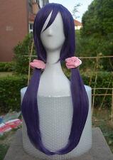 Love Live! Nozomi Tojo Wig Long Gray Purple Cosplay Wig + Pink Hairbands
