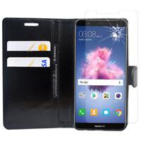 """Etui Housse Portefeuille Cuir PU Huawei P smart 5.65"""" + Film Verre Trempe"""