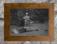"Vintage Hunting ... Boy Shoots Lion. Safari Hunt ... Antique 5""x7"" Photo Print"