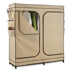 "Honey Can Do 60"" Wardrobe Storage Closet, Khaki"