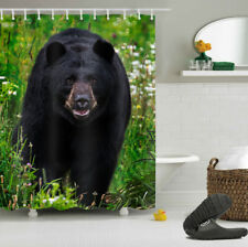 Balck Bear Shower Curtain Bathroom Decor Waterproof Fabric Polyester Hooks Set