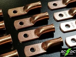 (1) 6 gauge Ring STUD #10 Hole Terminal BATTERY Lug Bare Copper Un-insulated AWG
