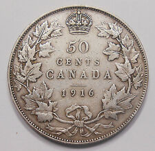 1916 Fifty Cents F-VF Beautiful BETTER Date aVF Early King George V Canada Half
