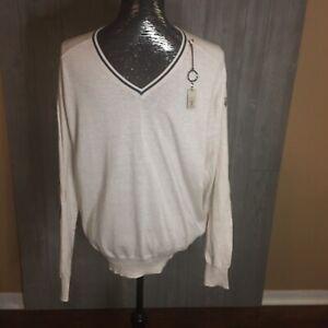 Maserati Beige Knit Vneck Sweater Size XL Mens