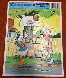 [GAME] Donald Duck Huey Louie Dewey 1983 Vintage Disney Golden Frame-Tray Puzzle