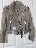 Blank NYC Women's Suede Leather Asymmetrical Moto Jacket Sz XS
