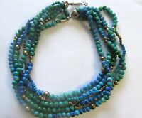 "Fashion Necklace 5 strands-  blue  & green shades- round beads -25"" long"