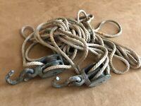 Vintage Metal Block and Tackle 2 Wheel Pulley Set Antique rope tools