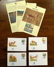 WWF BOTSWANA 1988 RED LECHWE FDCS INFO PAGES & MINT STAMPS 4V