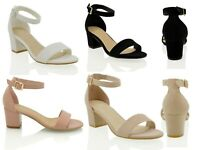 Womens Low Mid Heel Block Peep Toe Ladies Ankle Strap Party Strappy Sandals UK 3
