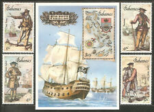 BAHAMAS Sc# 625 - 629 MNH FVF Set-4+ Souv Sheet Pirates Ship Blackbeard Bonney
