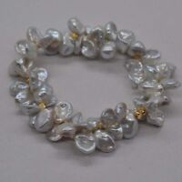 2-Row Natural Rare gray white 8-9mm Baroque Keshi freshwater pearl Bracelet