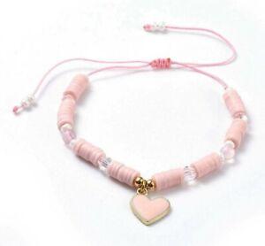 Rose Quartz Bracelet Crystal Gemstone Pink Girls Healing Chakra Heart Charm New