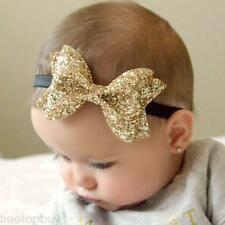 Perfect Glitter Sequined Bow Elastic Headband Sparkling Hairband For Baby Girl