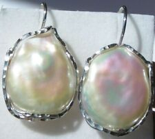 Large,Never worn 925 Sterling Silver and Large Pearl Earrings.