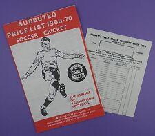 Subbuteo lista de precios & formulario de pedido 1969-70, rango de los equipos incluye World Cup 1966